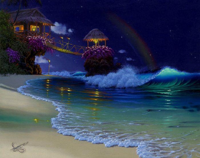 Гавайи ночью.