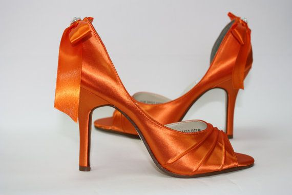 Orange Shoes  Orange Wedding Shoes  Orange Bridal by Parisxox, $144.00