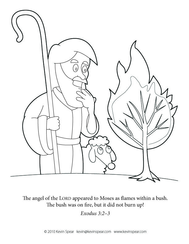 Moses BurningBush Coloring Page Moses And The Burning