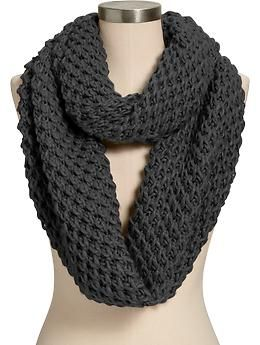 Womens Honeycomb-Stitch Infinity Scarves