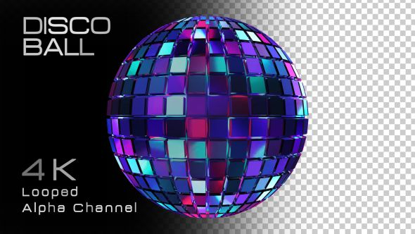 Disco Ball Video Animation | Alpha Channel | 4K (3840×2160) | Looped | Photo PNG + Alpha | Can use for VJ, club, music perfomance, party, concert, presentation | #3d #club #colourfull #dance #disco #discoball #dj #edm #glamour #light #music #party #pop #shine #sparkling