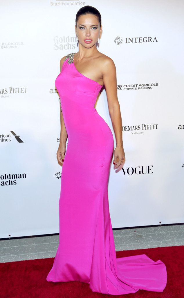 We wanted to wear this same Barbie pink dress that Adriana Lima has to our high school prom but Mom said no way. The Gabriela Cadena design may be too sexy for a 16-year-old but it's equally inappropriate for someone over the age of 21.