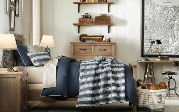 Сине--белый дизайн комнаты для мальчика