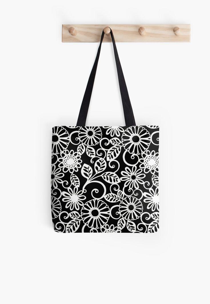 « vintage flowers, black, white - fleurs  vintages, noirs/blancs » par LEAROCHE