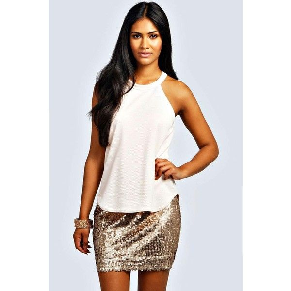Boohoo Night Tiffany High Neck Strap Top ($16) ❤ liked on Polyvore featuring tops, nude, polyester shirt, sheer top, holiday shirts, special occasion tops and strappy crop top
