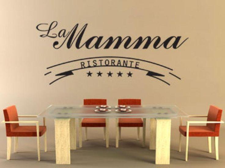 Mamma mia, jakie pyszne! Idealna naklejka na ścianę do restauracji lub kuchni. Napis poprawiający apetyt.