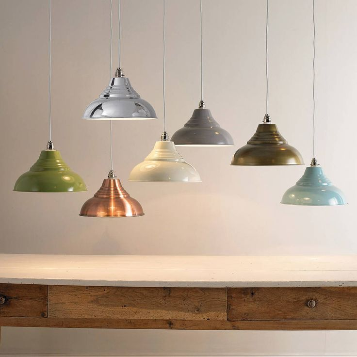 In great colours and simple to fit, these stylish metal ceiling pendants are an easy way to add some vintage chic to your home.Great over a breakfast bar or as a stylish finishing touch to an office, kids' room or hallway. There's no fiddly wiring required, they simply fix over a standard ceiling fitting. Available in seven lovely colours (left to right) - green, copper, chrome, cream, grey, antique brass (lovely muted tone) and powder blue. The inside of the shade is white for all colours…