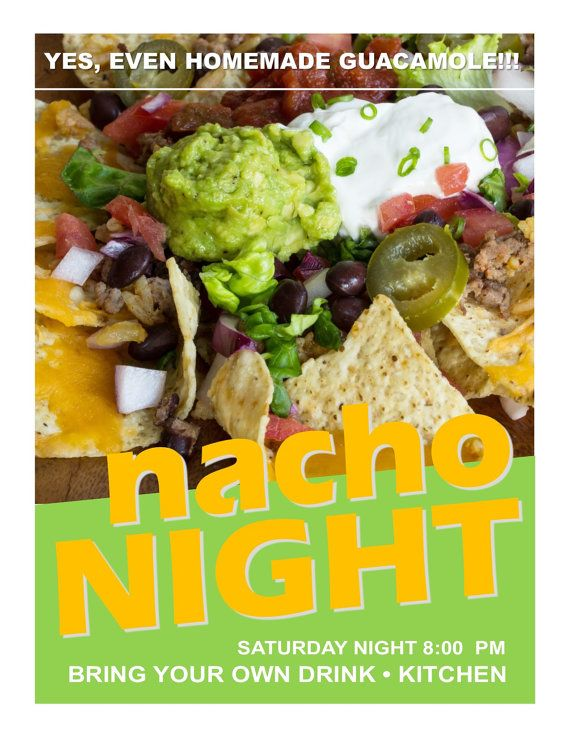 Nacho Night Program Flyer for resident assistant programming. RA program ideas are not complete without some nachos!