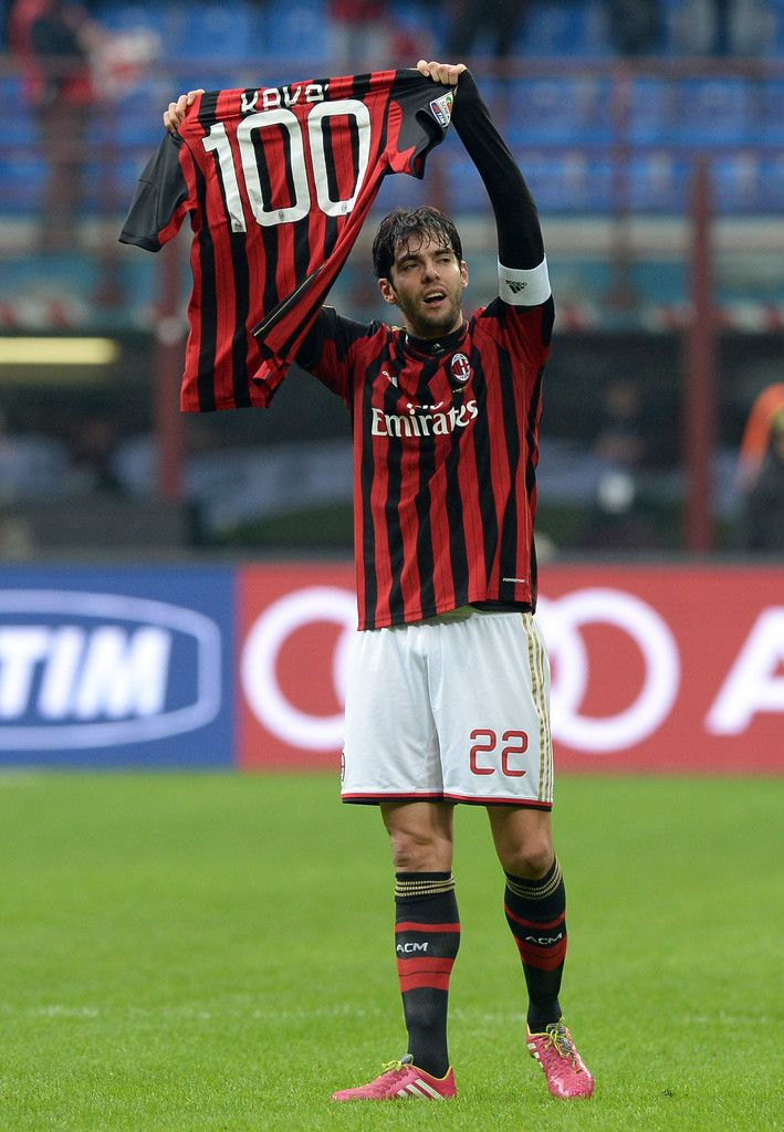 Kaká celebrates scoring his 100th goal for the club during the Serie A match between AC Milan and Atalanta BC at San Siro Stadium on January 6, 2014 in Milan, Italy.