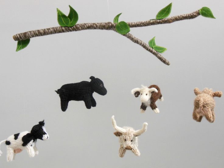Cow Mobile, Cow Baby Mobile, Farm Nursery, Boy Baby Nursery, knit animal mobile, Gender Neutral Nursery, Cow hanging crib mobile, Cattle by SweetBauerKnits on Etsy https://www.etsy.com/listing/476569438/cow-mobile-cow-baby-mobile-farm-nursery