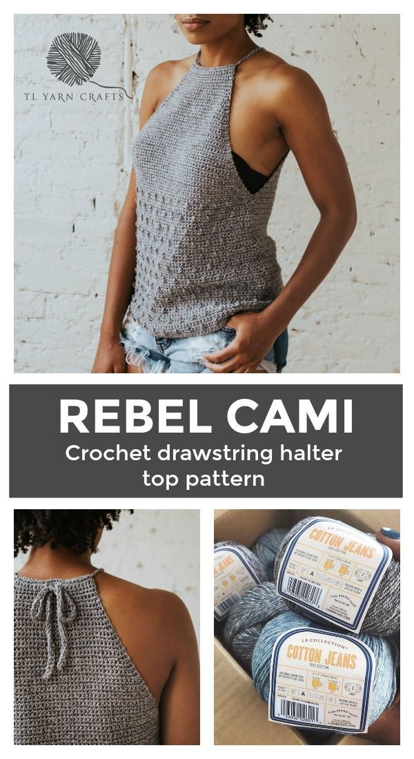Make the Rebel Cami, a sassy but sweet drawstring halter top crochet pattern fro…