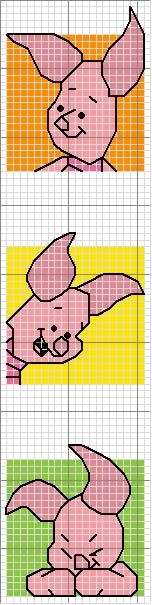 Cross-stitch Piglet bookmark ... use the colors on the chart as your color guide.