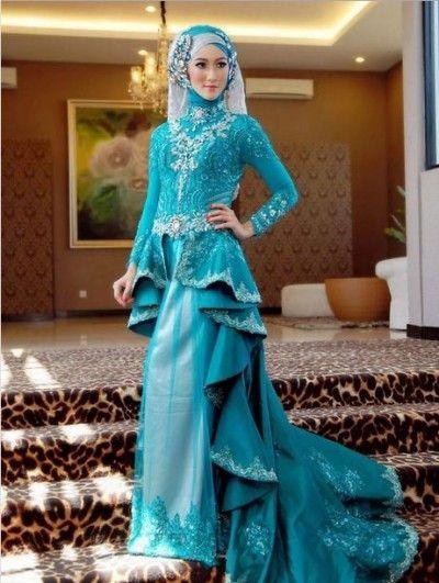Desain Rancangan Pakaian Kebaya Muslim Pengantin Wanita Muslimah Berjilbab
