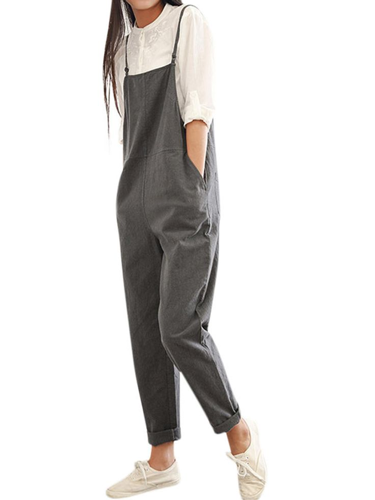 Casual Women Pure Color Side Button Strap Cotton Overalls - Banggood Mobile