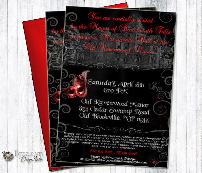 20 best Masked Massacre Murder Mystery Game images on Pinterest - invitation wording for mystery party