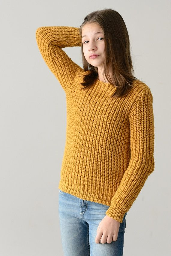 This sweater i made of crewel in mustard color, proportions are 65% wool 35% alpaca. Its very soft in touch, warm and comfortable. This cut is