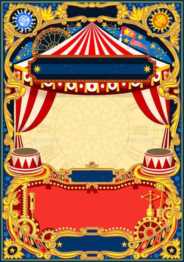 circus editable frame vector theme park pinterest kids