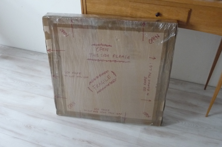 Instructions on the box, how best to open your package and not damage your mirror. We cling film wrap the boxes to help strenthen the structure of the box and internal contents.