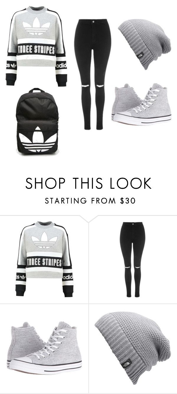 """when i go to school i be like"" by lc112439 on Polyvore featuring beauty, adidas Originals, Topshop, Converse, The North Face and adidas"