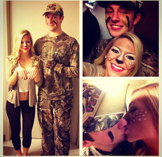 Deer and hunter couple Halloween costumes!