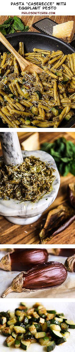 EGGPLANT PESTO CASERECCE with mint and zucchini chuncks | Recipe ...