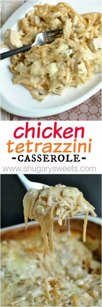 Cheesy, pollo Tetrazzini.  Una de nuestras comidas favoritas, perfecto para servir a una multitud también!  FÁCIL y deliciosa!