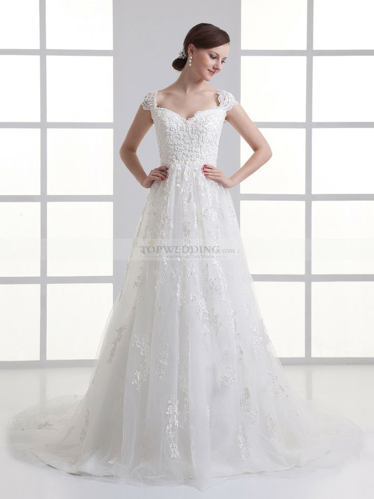 Portrait Neckline A Line Wedding Dress With Tulle Overlay And Applique Detail