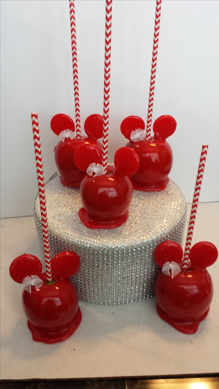Red Minnie Mouse Candy Apples made with our Candy Apple Mix