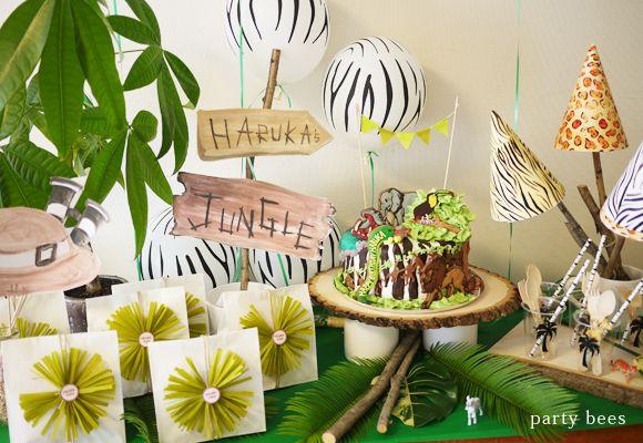 おうちでキッズパーティ♪ ジャングルがテーマのパーティデコレーションです。