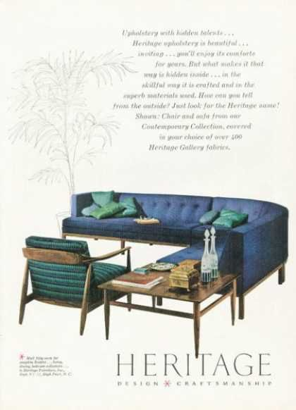 Vintage Furniture Ads of the 1950s . Heritage Design Furniture (1958):