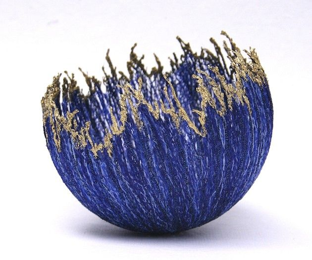wool bowl Gold Edge bowl - blue Machine embroidery on soluble fabric. 10cm diameter.