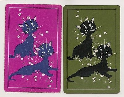 playing cards with pictures of cats on | Swap Playing Cards 2 single Cats Kittens Retro