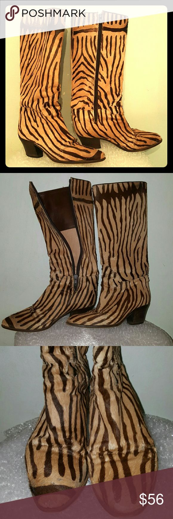 """Maud FRIZON 38 animal print calf boots 2 1/4"""" brown stacked heel. 14"""" shaft, 14.5"""" circumference. Tan leather lining. Calf hair upper has some receding spots, mostly toe area. Still a lovely pair! Maud Frizon Shoes Heeled Boots"""