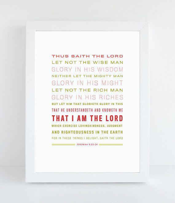 #Bible Verse Art Jeremiah 9:23-24 King James by NotBySightDesign, $8.00