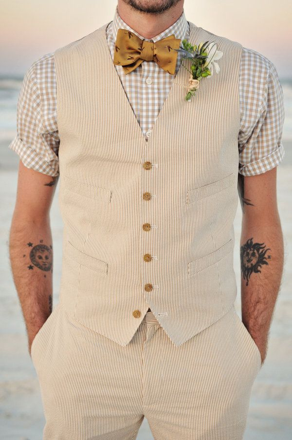 Summer wedding on the beach. I like the choice of Gingham short sleeved shirt with the seer sucker suit.