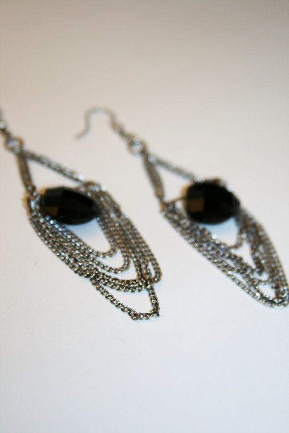 Faceted Black Gem Bead Centered Around Chains by SimplyCowgirl, $10.00 #oklahoma #oketsy #madeinoklahoma