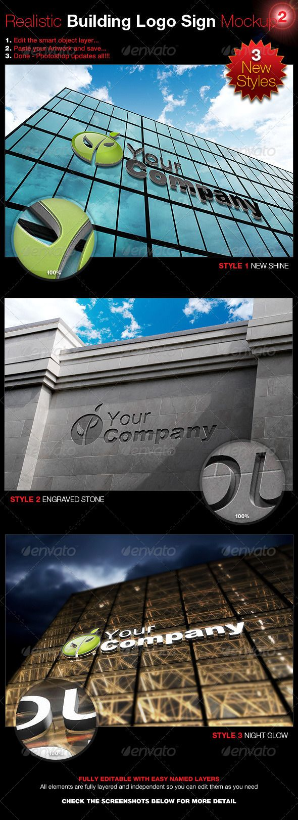 Realistic Building Logo Sign Mock-Up 2  #GraphicRiver