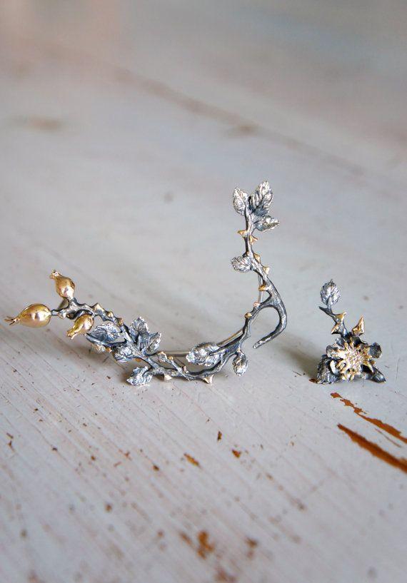 Custom ear cuff in sterling silver and gold - unique ear cuff earring - designer…