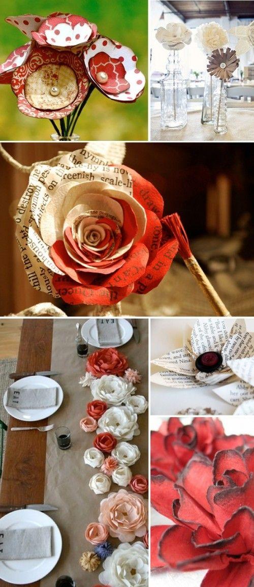 Flores vintage, como vemos en la foto Pueden servir para ponerlas en un florero como la primer foto. También como en la última en forma de camino de mesa♥