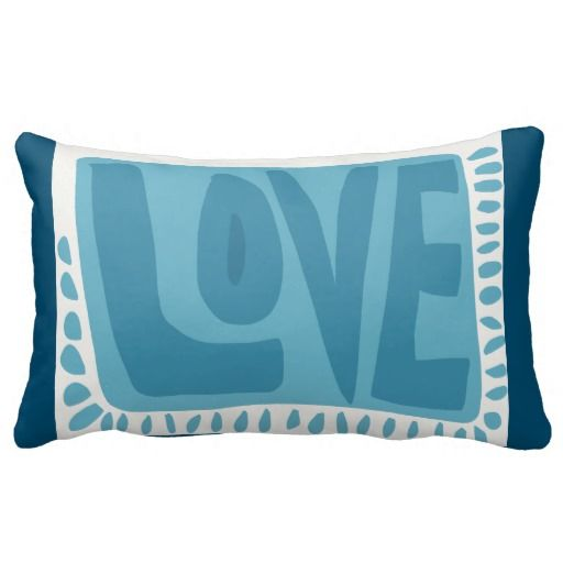 Love Typography Blue Toss Cushion Throw Pillow