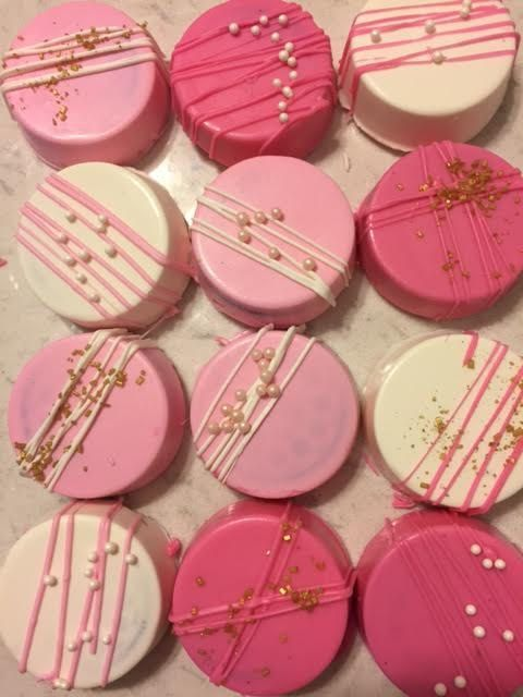 1 Dozen Chocolate Dipped Oreos Pink and Gold: