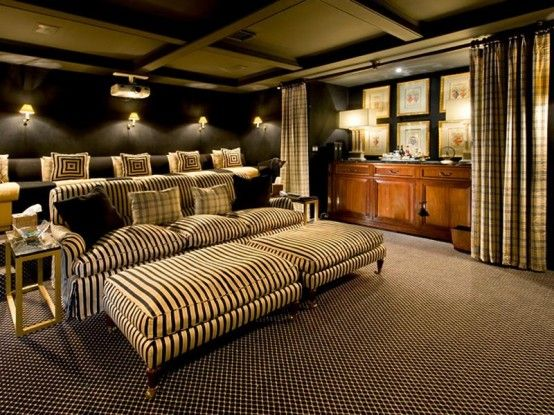 Love the different seating choices and the bar behind the curtain|Media Room
