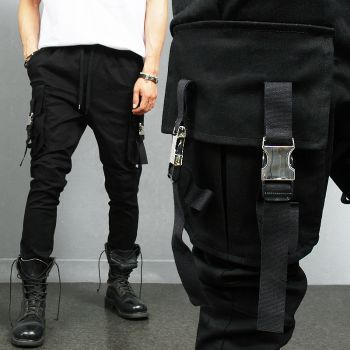 Avant garde Big Cargo Pocket Buckle Black Denim Jogger Pants