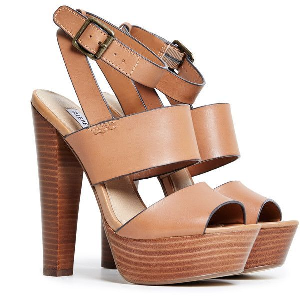 Steve Madden Dezzzy Platform Sandals (£74) ❤ liked on Polyvore featuring shoes, sandals, heels, high heels, sapatos, brown, brown shoes, platform heel sandals, brown sandals and heeled sandals