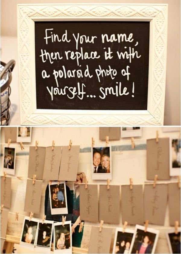 Wedding Polaroids; I love this idea! I'd have them write a little something on the back of the polaroid as well, and then after the wedding put them all in a book!  way more creative than signing a guest book.