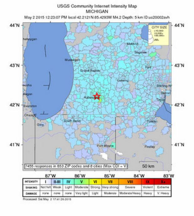 Michigan earthquake measures 4 2 on Richter scale