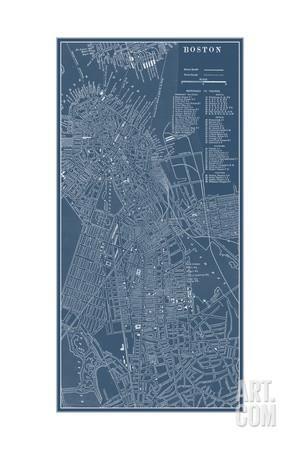 Graphic Map of Boston Art Print by Vision Studio at Art.com