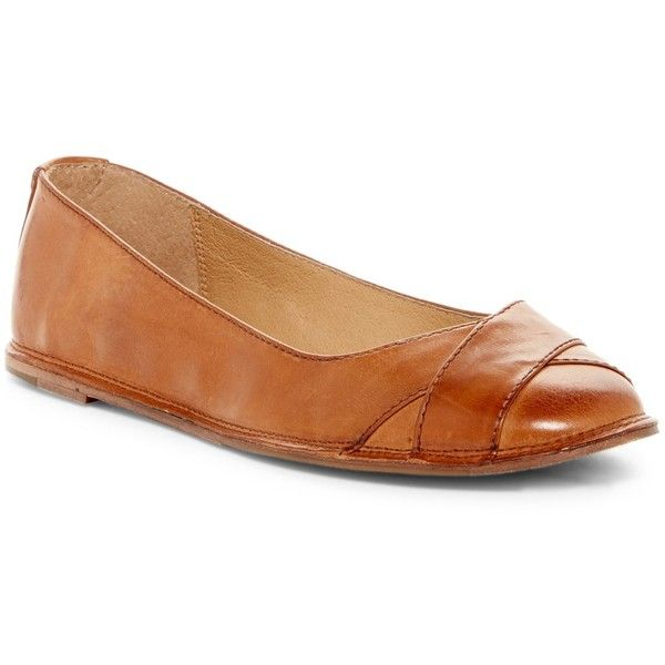Frye Ember Cross Ballet Flat ($80) ❤ liked on Polyvore featuring shoes, flats, brown, ballet pumps, cushioned flats, ballerina pumps, frye shoes and ballet flat shoes