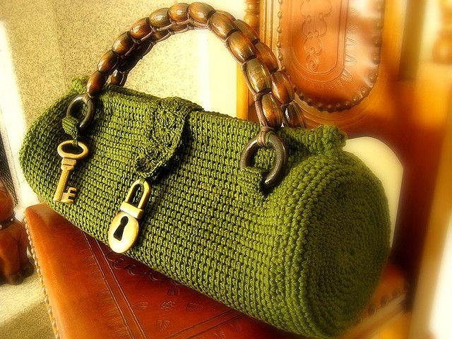 Tunisian crochet purse