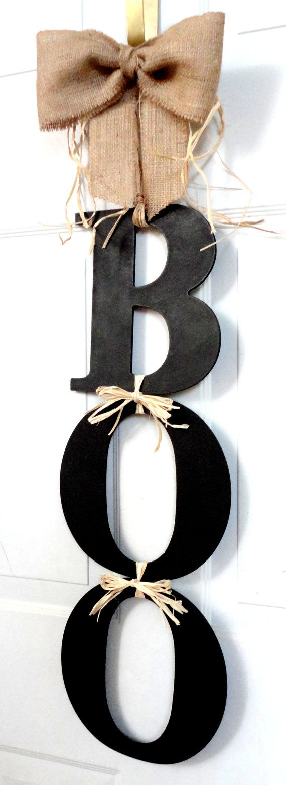 Love this I would use orange letters BOO Halloween Wreath Fall wreath Deco Mesh…